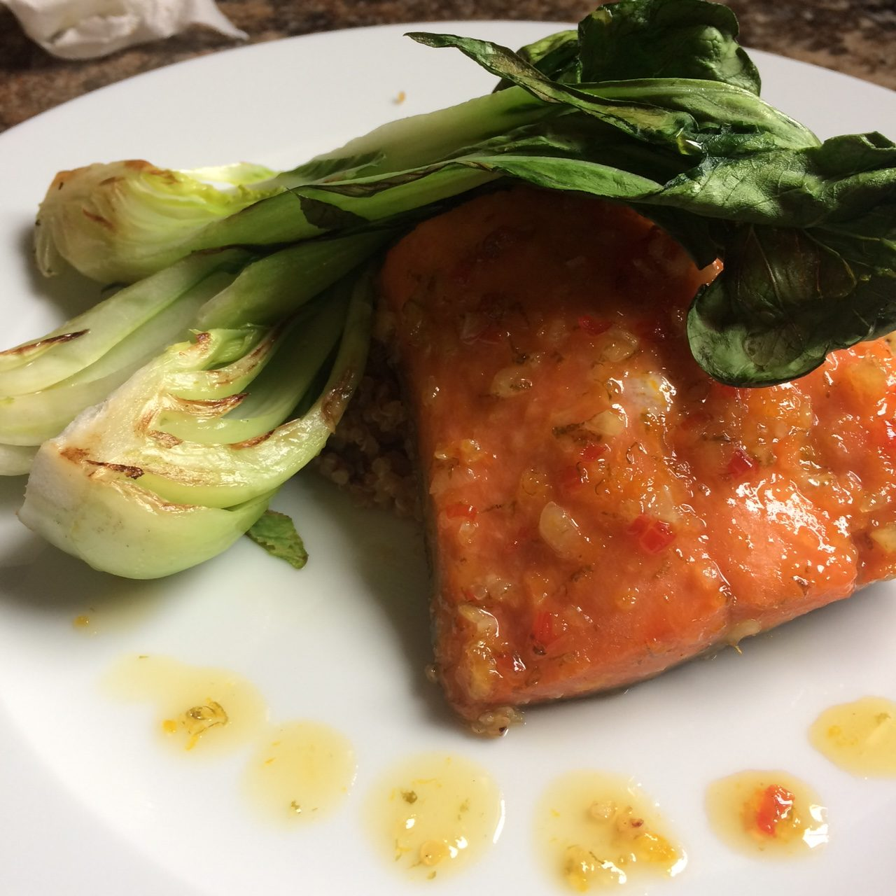 plated citrus salmon
